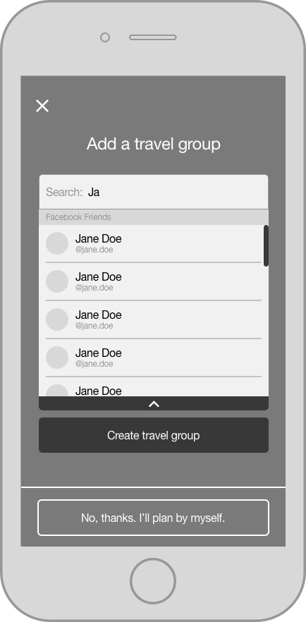 screen to add travelers to a group